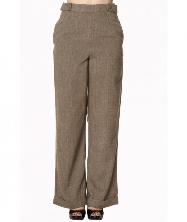 Pantalon Banned Clothing Lady Luck Wide Leg Trouser Marron