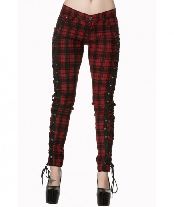 Pantalon Banned Clothing Escaping Darkness Tartin Skinny Trouser Rouge Check