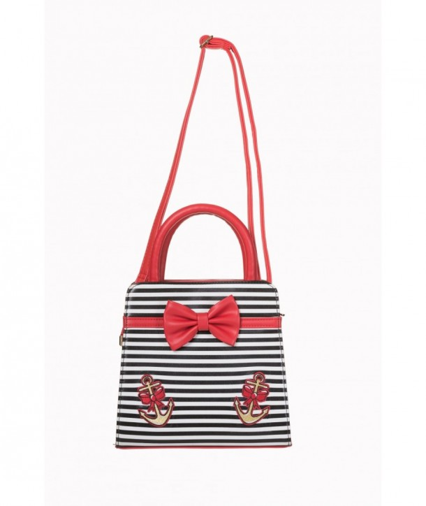 Sac Banned Clothing The Vice Bow Handbag Noir/Blanc