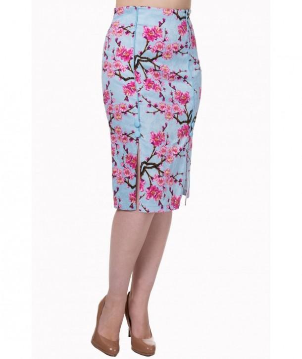Jupe Banned Clothing Last Dance Pencil Skirt Plus Blossom Bleu