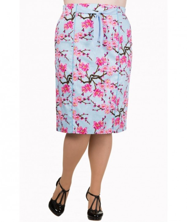 Jupe Banned Clothing Last Dance Pencil Skirt Plus Blossom Bleu