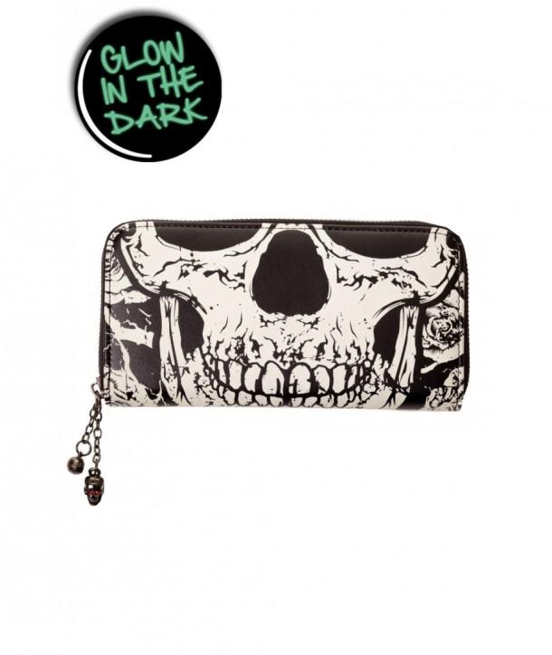 Porte Monnaie Banned Clothing Noir Skull Face Wallet Noir