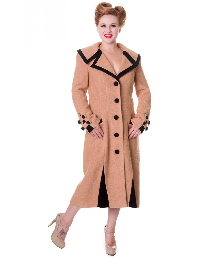 Long Vintage Camel Rockabilly Manteau Banned Retro Clothing Coat POwk8n0X