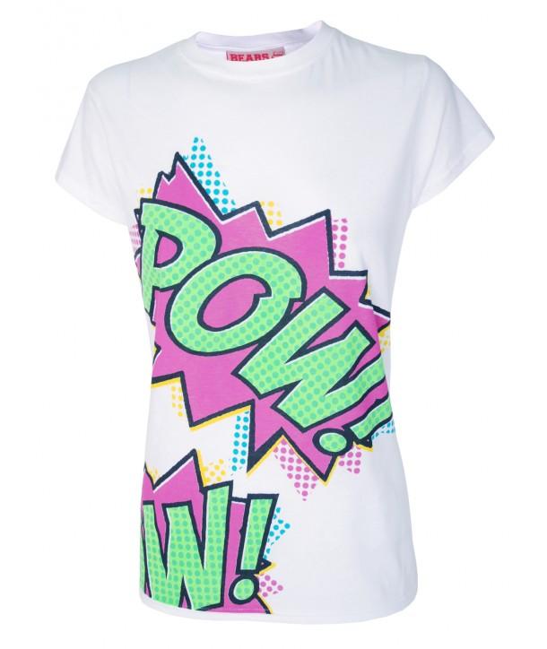 Tee Shirt Darkside Cartoon Slogan Pow