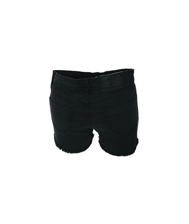 Short Darkside Clothing Black Denim Cut Off Hot Pants