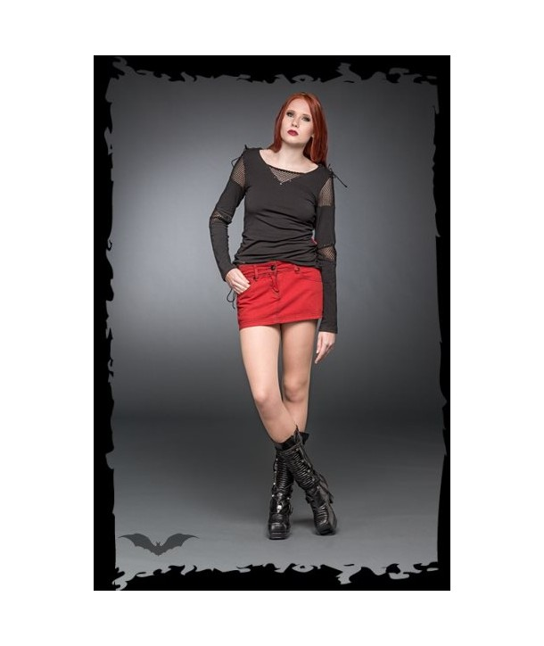 Jupe Queen Of Darkness Gothique Short Red Jeans-Style Skirt With Skull