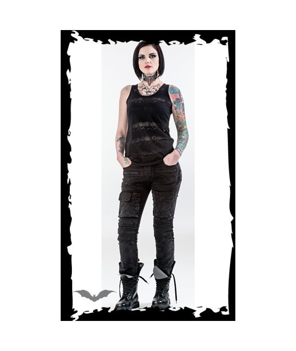 """Pantalon Queen Of Darkness Gothique Used-Look"""""""" Trousers With Front Pockets"""