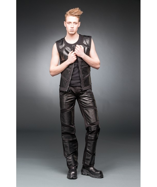 Pantalon Queen Of Darkness BLACK PANTS WITH METAL PLATE LOOK APPLIC