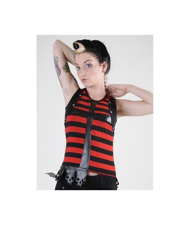 Top Queen Of Darkness Gothique Black/Red Striped Top With Latex Cross