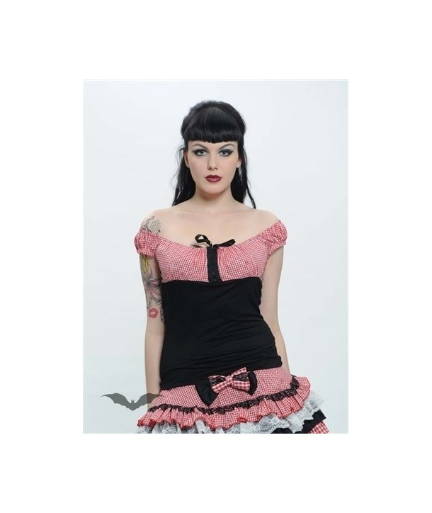 Top Queen Of Darkness Gothique Top With Red/White Chequered Design