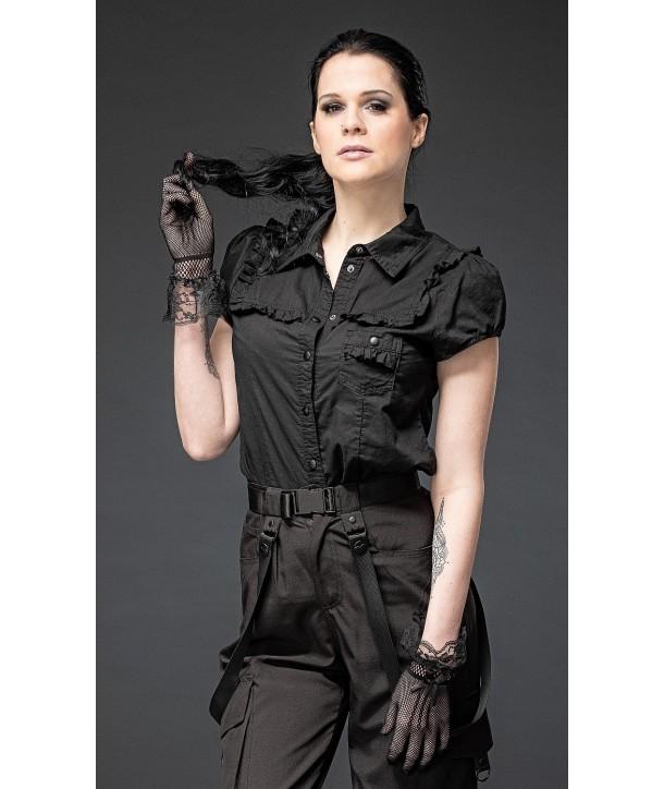 Top Queen Of Darkness Black Buttons