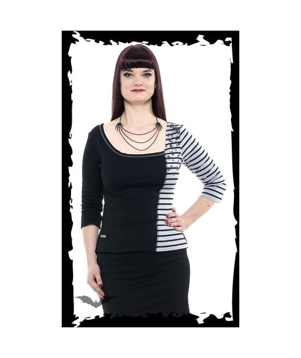 Top Queen Of Darkness Gothique Black And Grey Shirt With Stripes