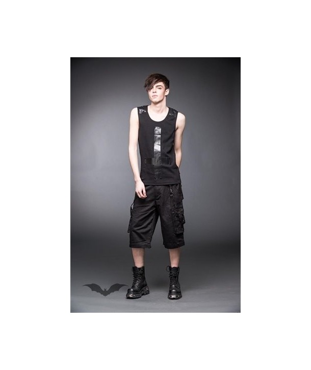 Top Queen Of Darkness Gothique Tank Top With Leather Look Cross
