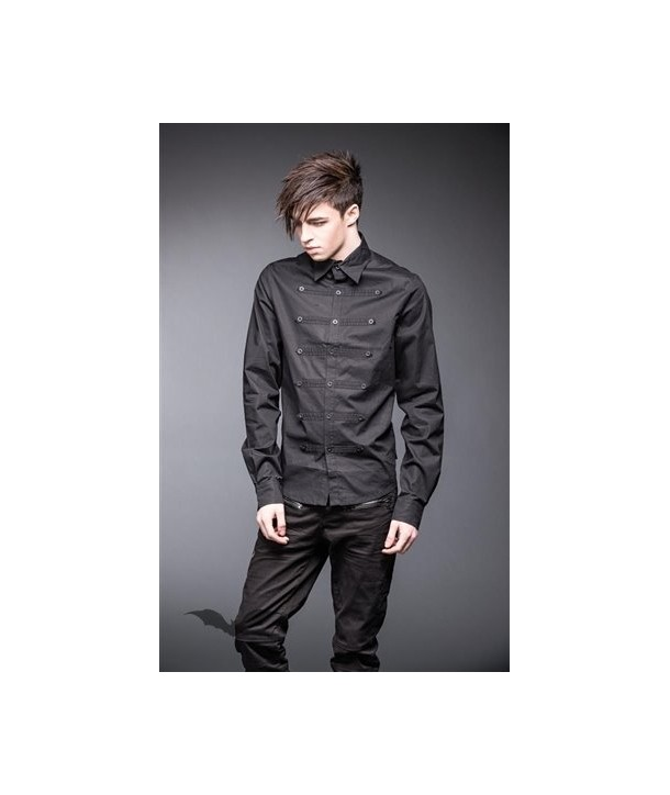 Chemise Queen Of Darkness Gothique Military Style Shirt With 3 Rows Buttons