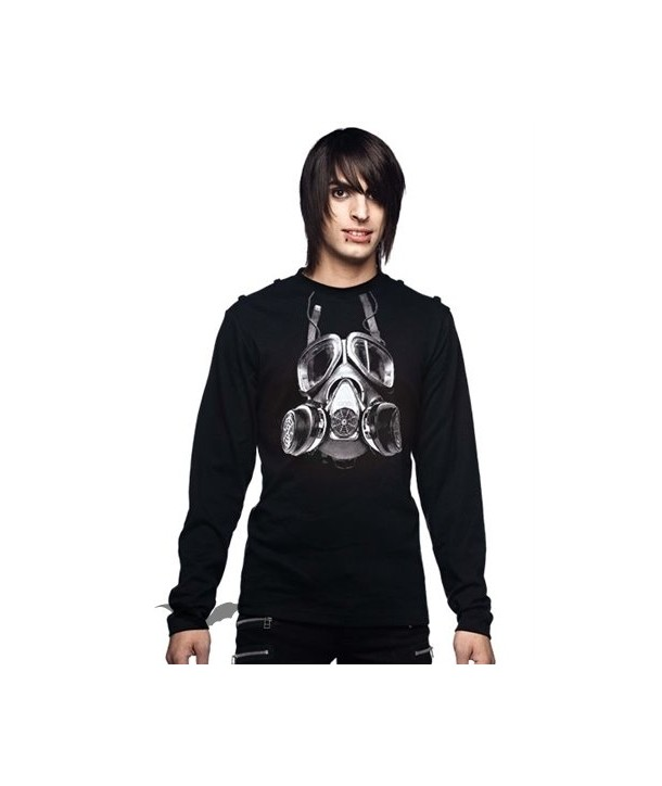 Sweat Shirt Queen Of Darkness Gothique Black Shirt With Gas Mask Print