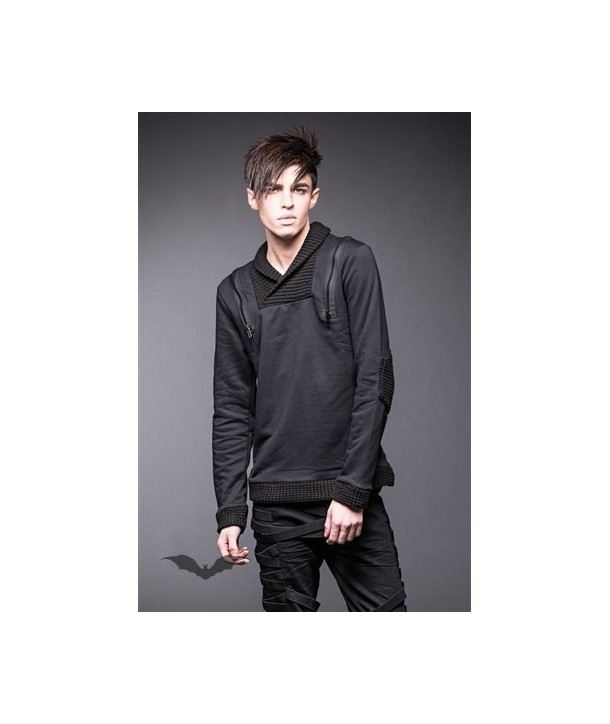 Sweat Shirt Queen Of Darkness Gothique Sweater With High Collar And Zippers