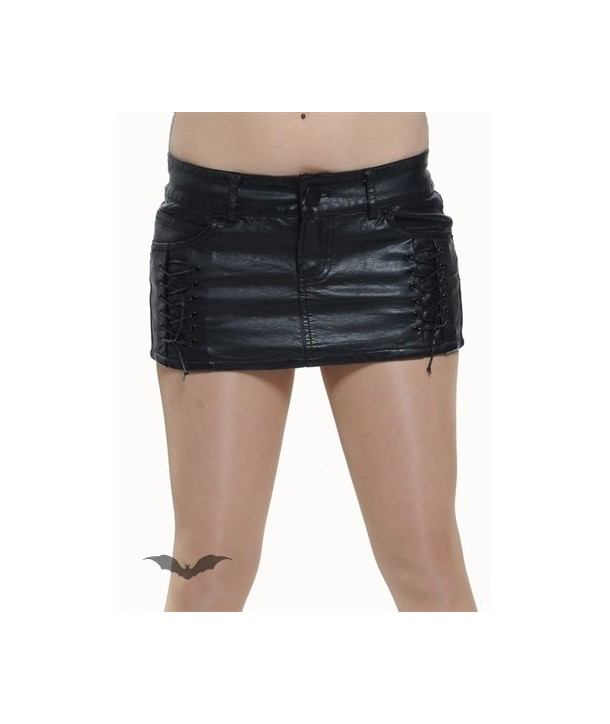 Jupe Queen Of Darkness Gothique Tight Black Leather Mini Skirt