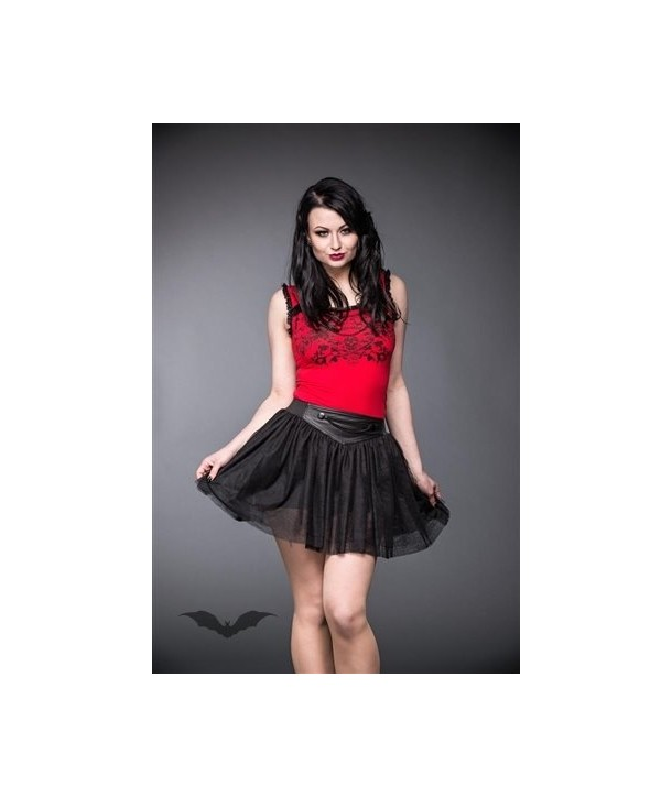 Jupe Queen Of Darkness Gothique Black Tulle Skirt With Leather Look Wais