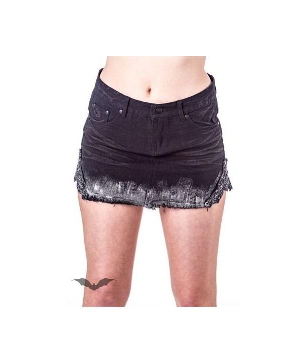 Jupe Queen Of Darkness Gothique Used-Look Mini Skirt With Lace On Sides