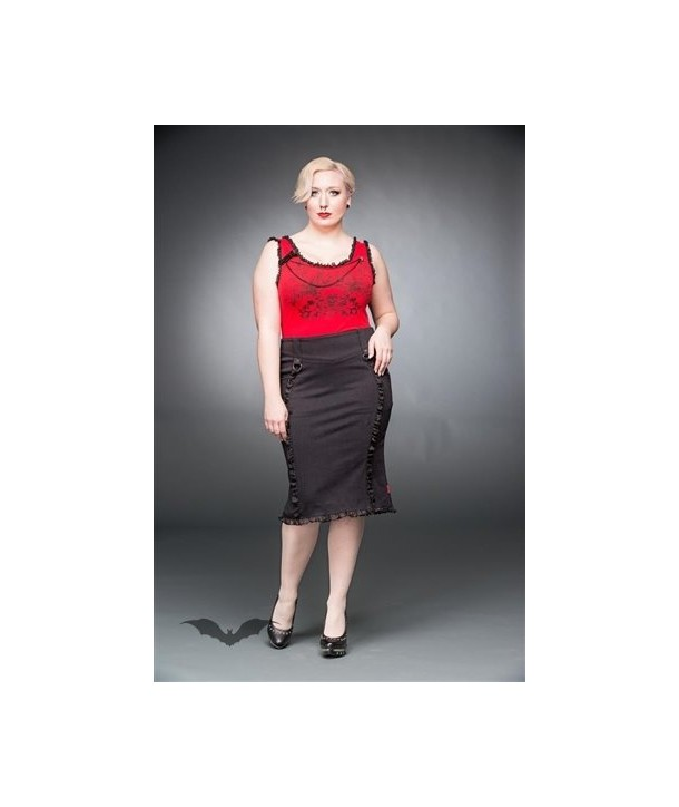 Jupe Queen Of Darkness Gothique Knee-Length Skirt With Ruching And Lacin