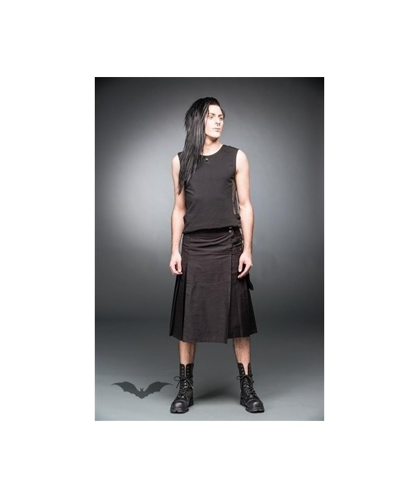 Kilt Queen Of Darkness Gothique Black Kilt With Buckles And Side Pocket