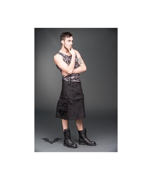 Kilt Queen Of Darkness Gothique Short Men Skirt With Zippers In The Fron