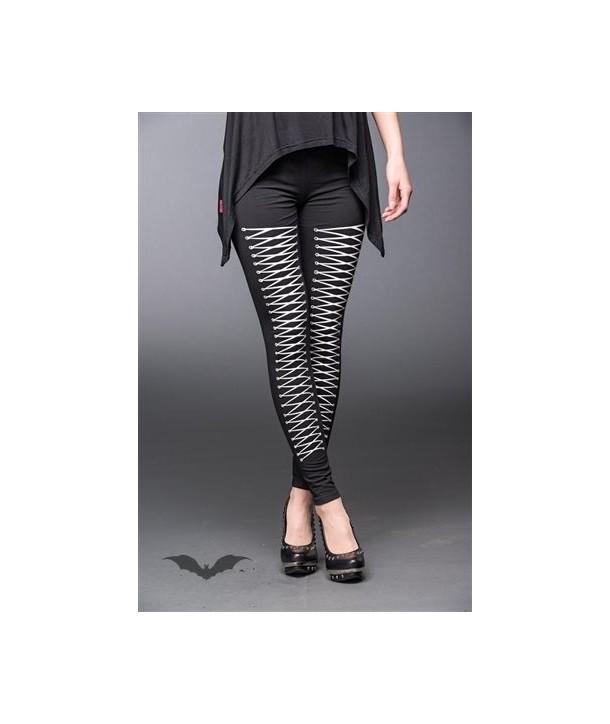 Leggings Queen Of Darkness Gothique Black Leggings With Lacing Print