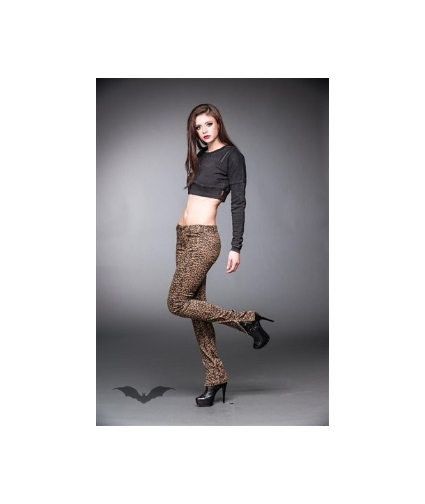 Leggings Queen Of Darkness Gothique Leopard Jeans With Side Zipper