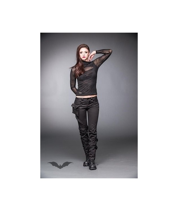 Pantalon Queen Of Darkness Gothique Black Pants With Pocket And Bondages