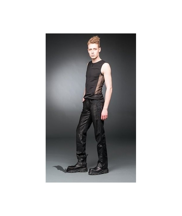 Pantalon Queen Of Darkness Gothique Black Pants With Leather-Look Applicatio