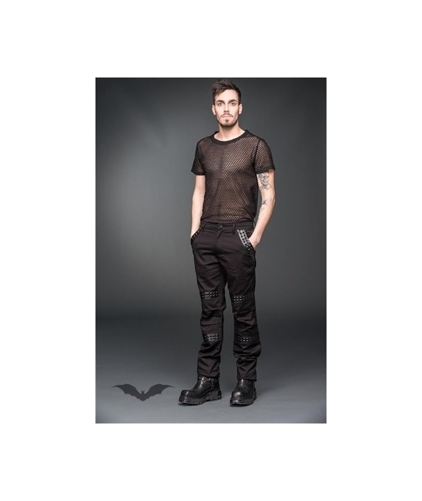 Pantalon Queen Of Darkness Gothique Trousers With Black Fake-Leather Applica
