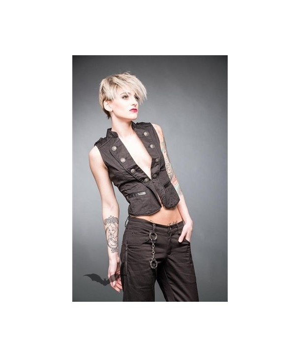 Debardeur Queen Of Darkness Gothique Black Military Style Vest