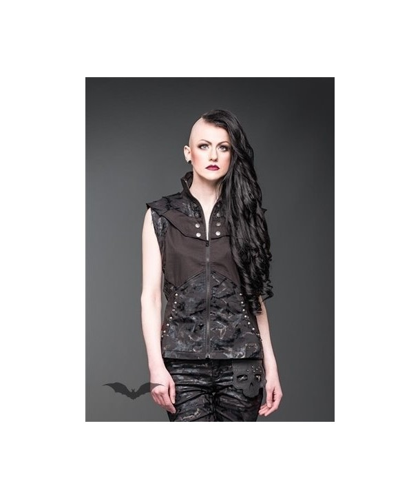 Debardeur Queen Of Darkness Gothique Vest With Hood And Buttons