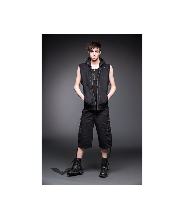 Debardeur Queen Of Darkness Gothique Black Vest With Studs And Hood