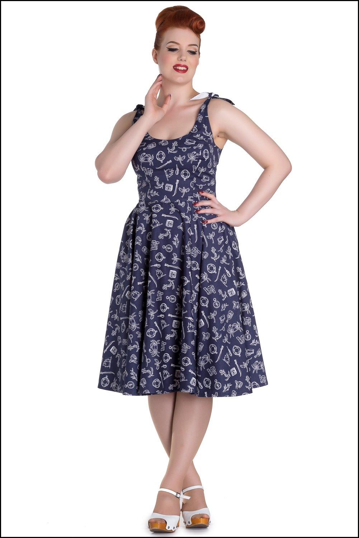 0df913b9bbd robe hell bunny Marin 50s Mini Dress retro rockabilly pin-up gothique  vintage bleu navy