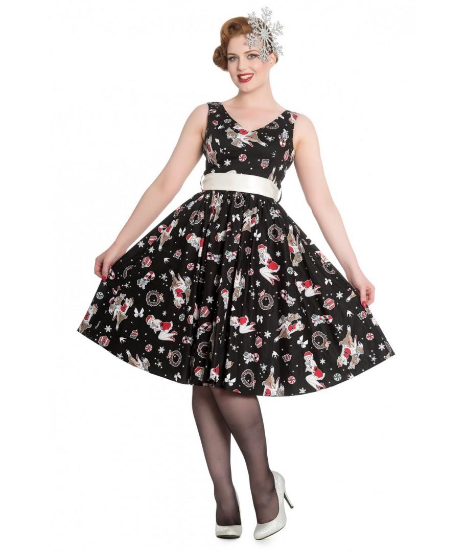 Hell Dress Robe 4621 50s Rockabilly Vintage Blitzen Bunny Noir Retro Rock 8nmN0w