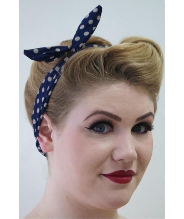Headband Banned Clothing Tiffany Headband Navy/Taupe Polka Dots