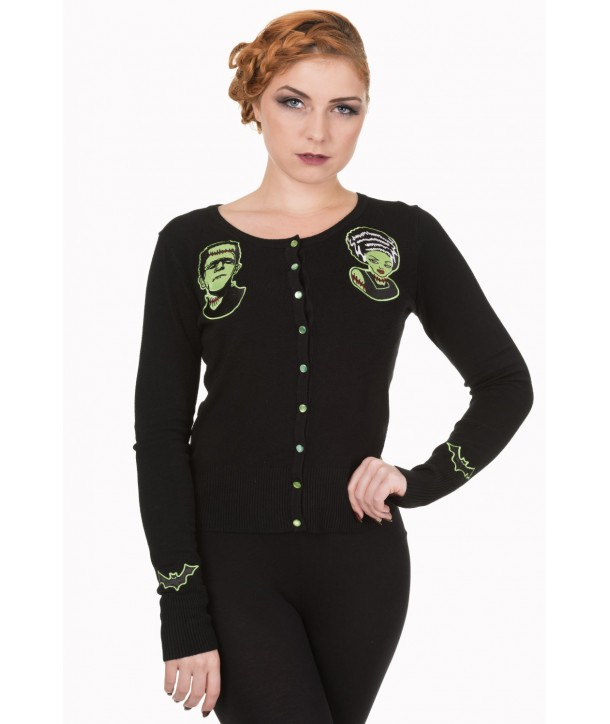Cardigan Banned Clothing Frankenstein And Bride Noir Cardigan Noir