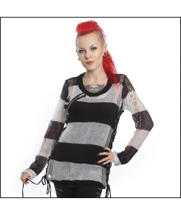 Top Heartless Clothing Miss Krueger Noir/Blanc