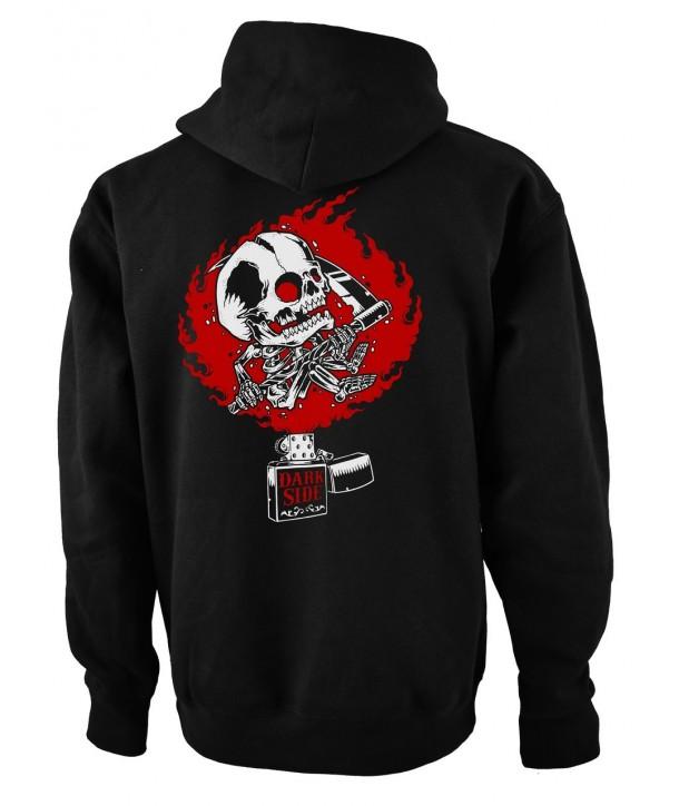 Sweat Shirt Veste Darkside Clothing Homme Zippo Skull