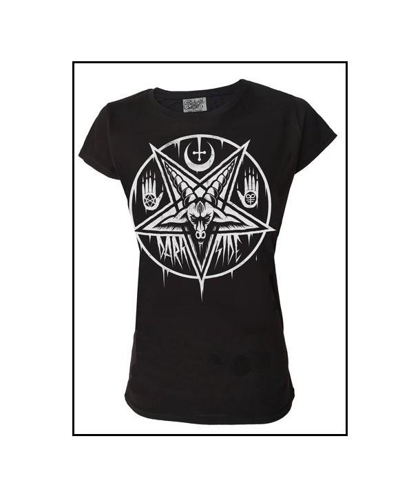 Tee Shirt Rock Darkside Femme Pentagram Baphomet
