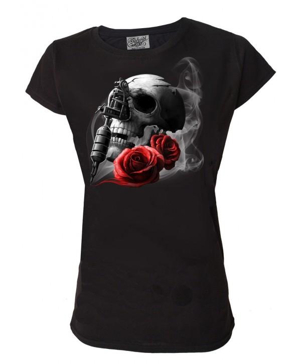 Tee Shirt Darkside Femme Tattoo Gun Skull