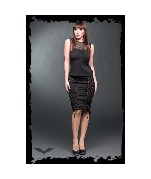 Jupe Queen Of Darkness Gothique Pencilskirt With Lace And Decorative Rib