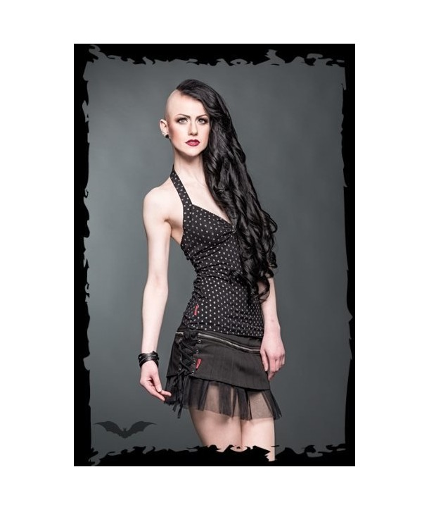 Jupe Queen Of Darkness Gothique Miniskirt With A Big Zipper And Decorati